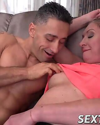 Lesbian with big boobs fucks very hard with tattooed man