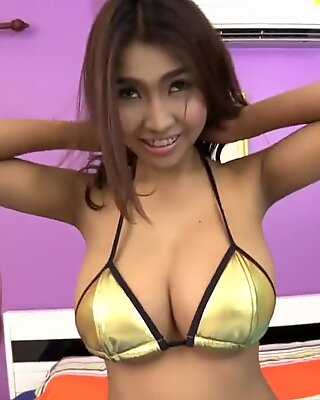 super thick funbags on skinny Asian chick
