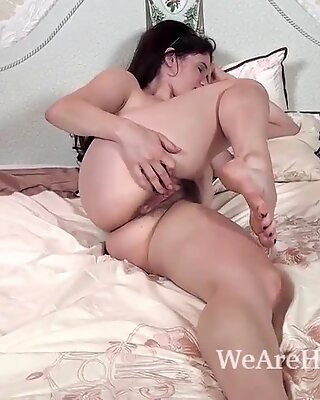 In her bed Brianna Green strips and masturbates
