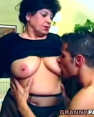 handsome grandma gets fucked on the table