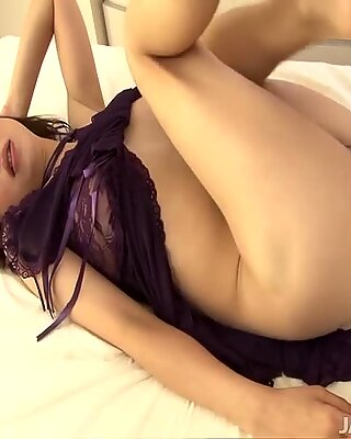 Skinny brown haired lady in purple outfit receives touchy fingering