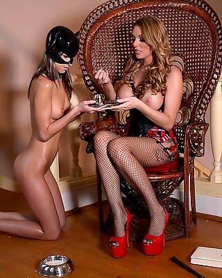 spandex devotees crave slim Gina & Stacey Saran in lesbian wax & slap fetish pornography