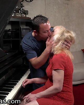 LustyGrandmas Lucky Stud Fucks Mature Piano Teacher