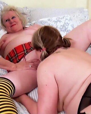 OldNannY Three Lesbian British Mature Pornstars