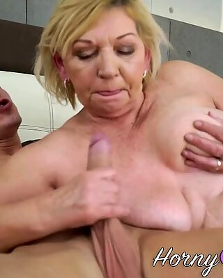 Grandmother takes cumshot