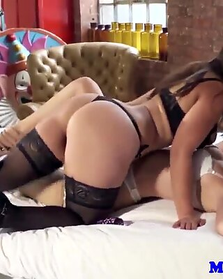 Lingerie lesbian toy fun with Sophia Knight