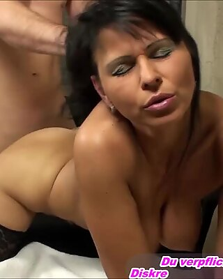 Beautiful german brunette milf natural tits fuck private