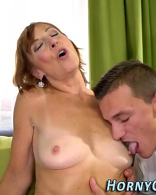 Stockinged old lady blows