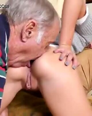 Nasty old men and granny fucks young guy Riding the Old Wood!