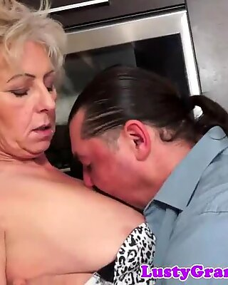 Hairy grandma doggystyled and gives blowjob
