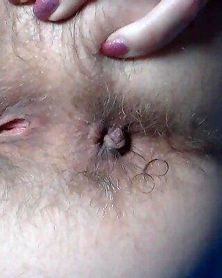 Hairy ass fingering close up