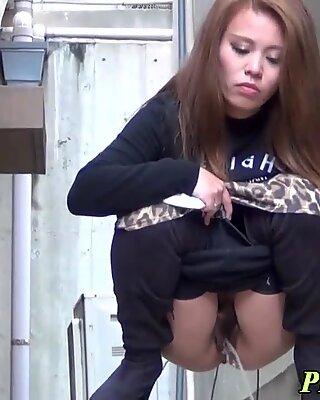 Asians pee soak alleyway