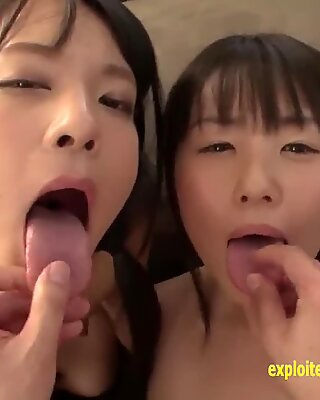 Abe Mikako Shares A dude With Her mate Shaved Pussies Perfect Asses Swap spunk