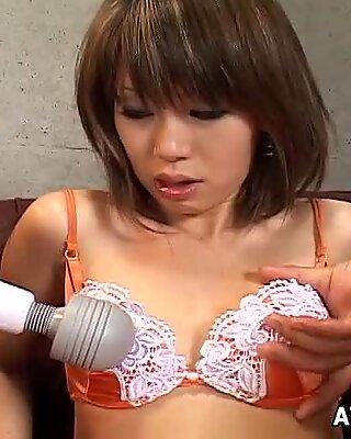 Giant high powered vibrator makes Yuu Kawano scream with pleasure