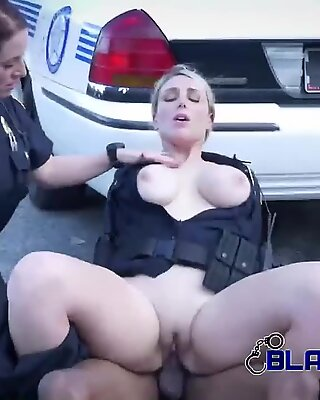 Milf cops subdue criminal into banging them out in broad daylight