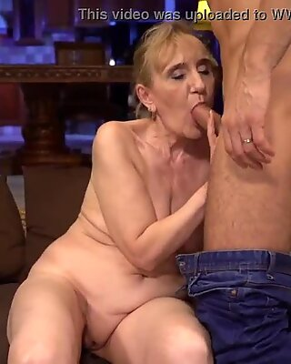 Mature sweetheart playing with big young cock