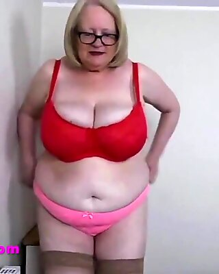 Grandmas tits are too big for her red bra