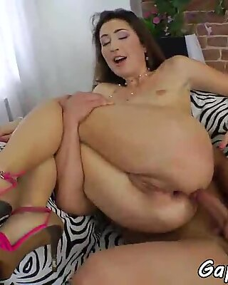 Gaping babe assfucked after sucking cock