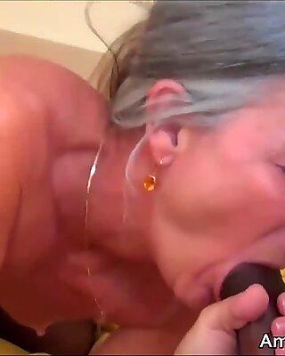 Younger black guy with big cock fucks older grandma