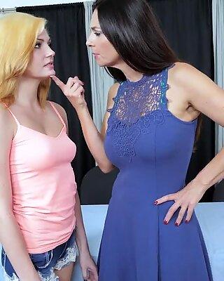 Lesbian stepmom milf gets pussy eaten