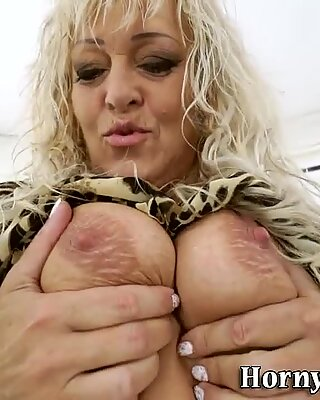 Toyed granny gets jizz