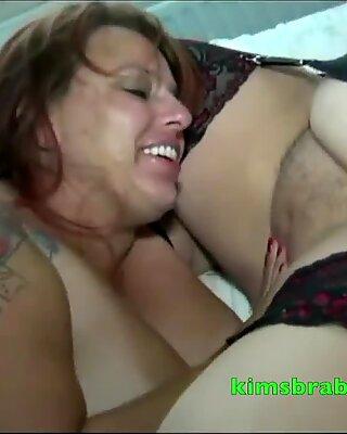 Busty Beth munches on Granny Kim
