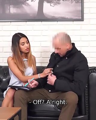 Debt4k. Babe Roxy Lips with tattooed leg and pierced nipples fucked by angry collector on couch