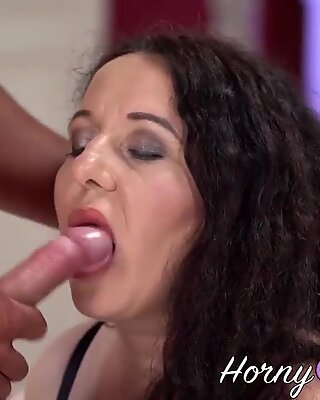 Cock sucking fat granny with huge tits