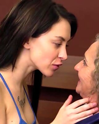 Titty brunette and a granny licking out each other