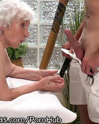 LustyGrandmas Old Lady Drilled by youthful man masseur