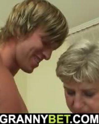 60 years old granny tastes his big cock