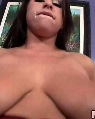 Busty chubby brunette chick Whitney Stevens fucks doggystyle and deepthroats.