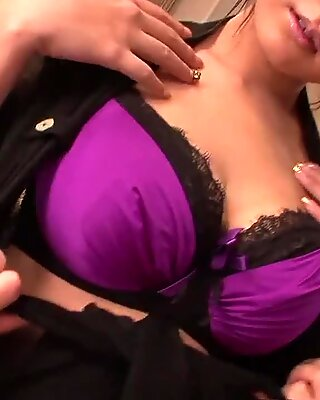 Busty Asian hottie in fishnets gets fucked hard