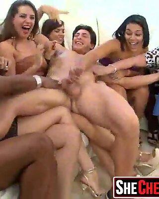 42 Rich milfs blowing strippers at underground cfnm party!25