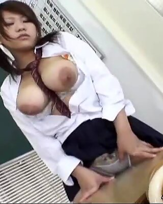 Hot Japanese babe gets cumshot on tits Uncensored