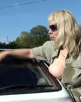 Doggy-fucking old blonde mother inlaw outdoor