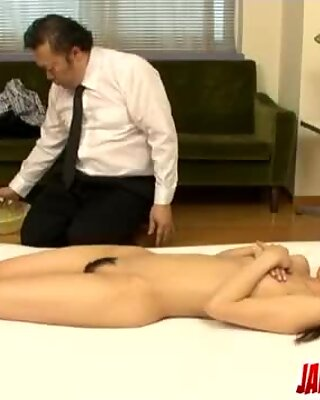 Rika Tamura adorable toy porn on cam in sloppy manners