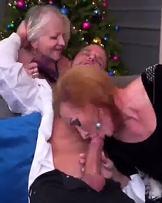 Mature mothers sharing toy boy on sex party