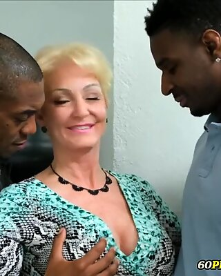 Granny's Double Penetration by two Black Cocks