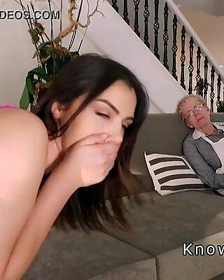 Busty girlfriend bangs beside her granny