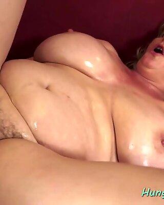 HungryGrandmas - Buxom granny gives tijob and rides cock