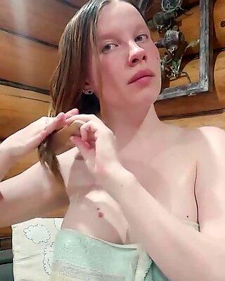 Girl sensually masturbates pussy after bath     amateur
