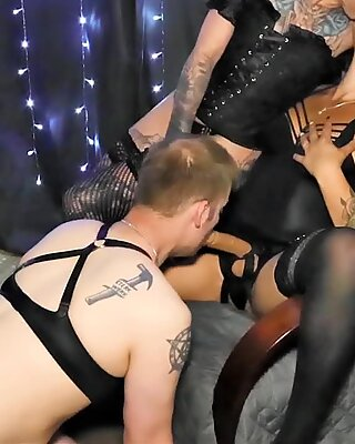Two Stepsisters Dominating and Fucking a Sissy Slut with