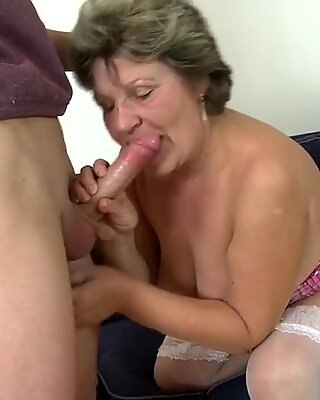 Granny fucking and sucking her young toy boy