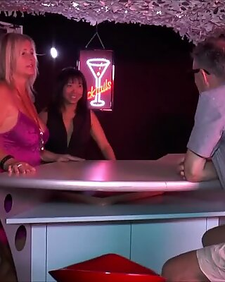Blonde bitch bare Chrissy with her thai girlfriend catch elder penis