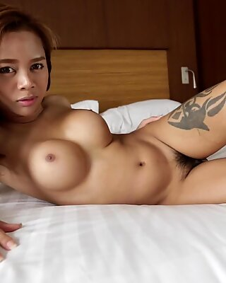 HELLOLADYBOY Busty Asian Sucks Off Big Dick