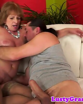 Busty granny banged by her lover