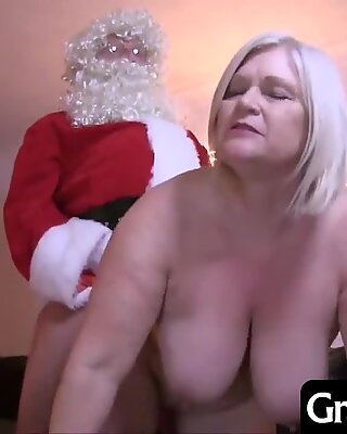 Granny sucks and fucks Santa and even lets him fuck her in the ass