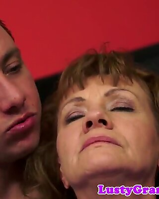 Hairy granny buttbanged by younger man