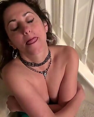 Sexy mom next door masturbating on stairs